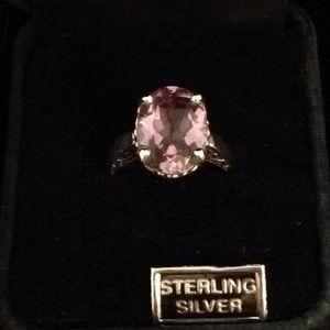 Sterling Silver Oval Amethyst Filigree Ring